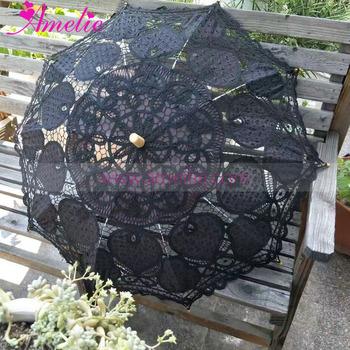 black with gold gothic party dancing umbrella lace parasol wedding shower decoration bridal umbrella wedding table