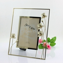 2015 Flower Design Glass Photo Frame for Weddings Party