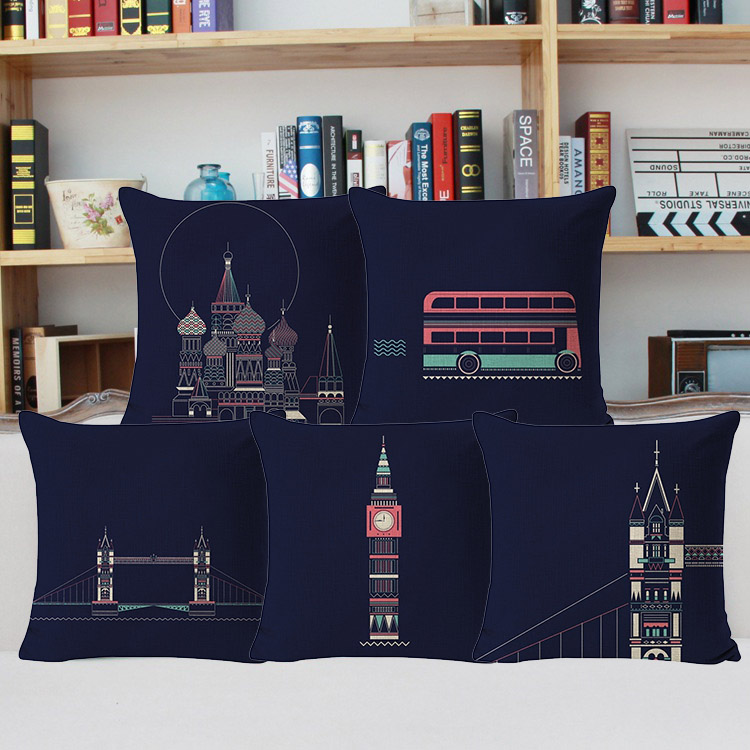 British Vintage Style Lovely British Royal Guards The Routemaster Red London Bus Cotton Linen Sofa Couch Chair Pillow Cases