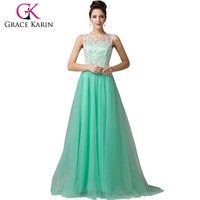 Grace Karin Sleeveless A-Line Long Lace Green Prom Dresses CL6108-1#