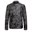 Stylish Wholesale Windbreaker Camouflage Color Motorcycle PU Leather Jacket For Men With Round Collar