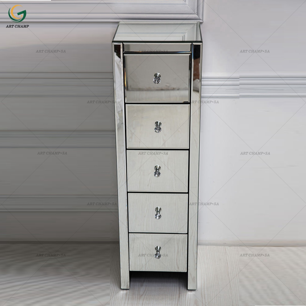 Venetian Mirrored 5 Drawer Silver Tall