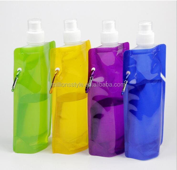 can be printed LOGO folding sports water bottle nozzle water bag