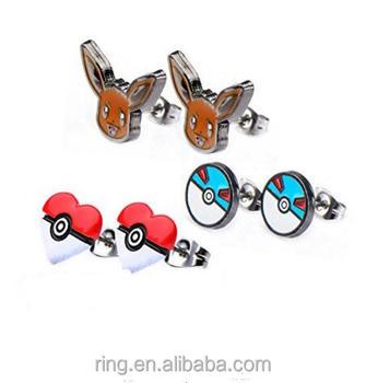 Team Rocket Ball Pokemon Go Pokeball Stud Earrings Whole Vintage Fashion Cute Earing For Woman