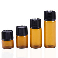 1ml 2ml 3ml 5ml mini Amber Glass Essential Oil Bottle Orifice Reducer black lids factory direct