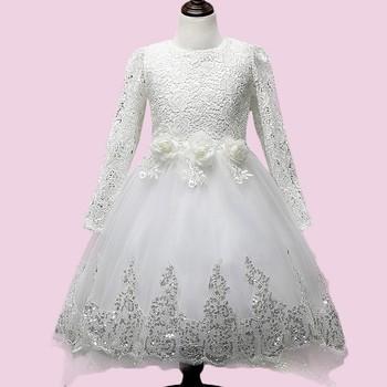 ad395af12 Venta al por mayor de los niños vestidos de fiesta para niñas blanco Vestido  de manga