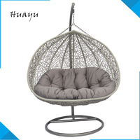 Factory supplier round shaped rattan children two seat swing egg chair outdoor cushion teak wood swing from China