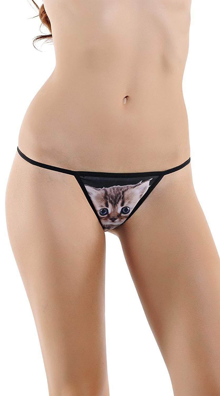 02614fe7e Get Quotations · Starline Black Kitten G-String Panty