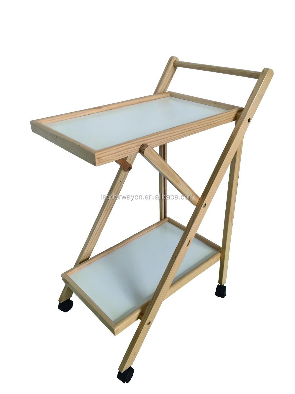 2 tier eenvoudige houten outdoor vouwen keuken opslag trolley ...