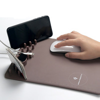 Luxury Qi Wireless Charger Fast Charging Leather Mouse Pad phone holder for For iPhone X 8 Plus