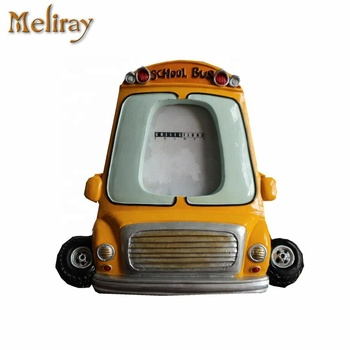 Size 13.2x2.5x12.8cm School Bus Photo Frame Yellow Resin Picture Frame