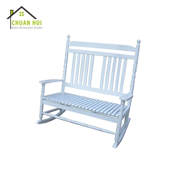 Leisure Ways Outdoor Double Seat White Rocking Wood Chair Front Porch