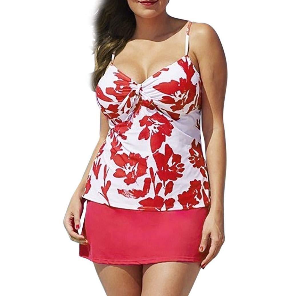 FAPIZI Clearance❀Women Bikini Set❀Plus Size Two Piece Printing Halter Swimwear Push-Up Padded Swimsuit Bathing Suit