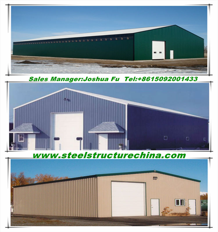 Truck accessible steel structure prefab warehouse with hoist/crane