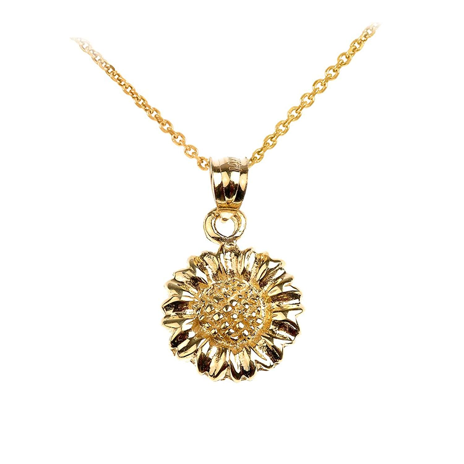 Charms for Bracelets and Necklaces 10k Yellow Gold Sunflower Charm With Lobster Claw Clasp