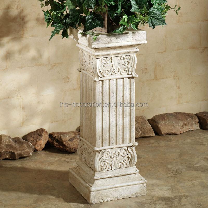 Weathered Cast Stone Garden Plinths