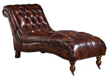 Luxury European Style Genuine Leather Tufted Dormeuse Clic Chaise Lounge Bf11 10273a