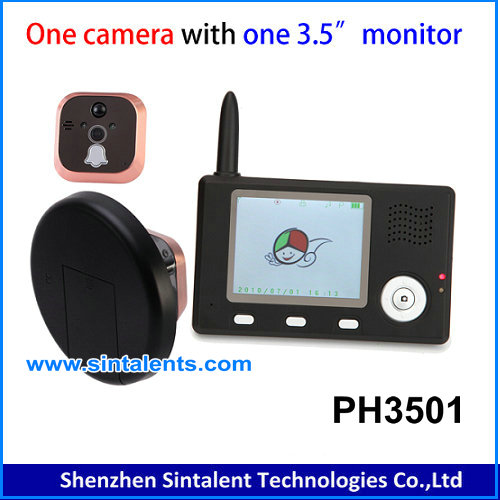 5.8GHz Wireless Mini Door Peephole Video Camera with 5 Inch Monitor DVR Te850h