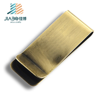 jiabo Custom logo antique bronze plating stainless steel metal money clip