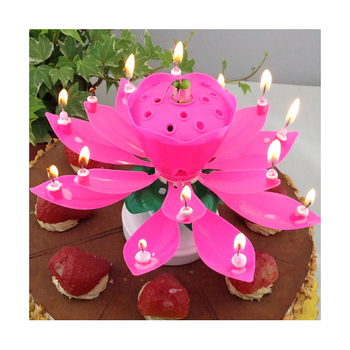 Unique Happy Birthday Singing Lotus Candle Handmade Cake