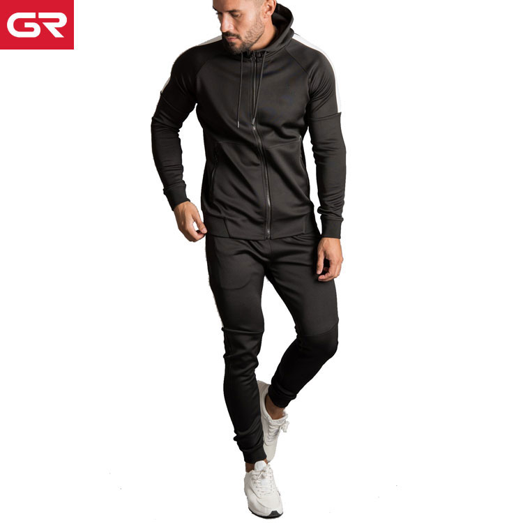 OEM Gym Sports Jogger Suits Polyester Spandex Custom Slim Fit Mens Tracksuit