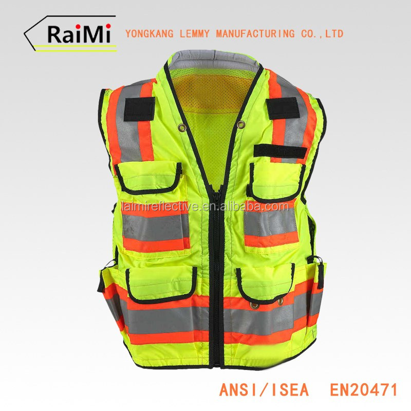 2016 Industry Construction Safety Vest Unisex Reflective Multi Pocket Men Bomber Jacket