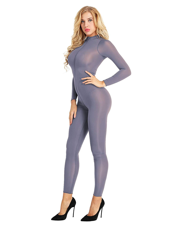 Get Quotations · Freebily Women Sheer Bodysuit Catsuit Double Zipper Long  Sleeve Open Crotch Jumpsuit 35b0a49d9