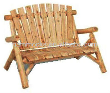 Lovely Woods Log Furniture Unfinished Patio Bench Outdoor Double Chair
