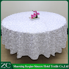 colors whtie Rosette Satin Tablecloth Ribbon Rose hotel restaurant embroidery Table Overlay decorative table cloth for wedding
