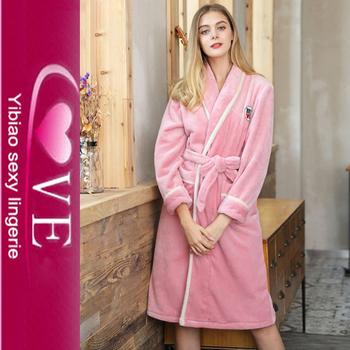 Soft Coral Velvet Home Sleepwear Women Bathrobe Thermal Nightgown Women ba7b0e7c3