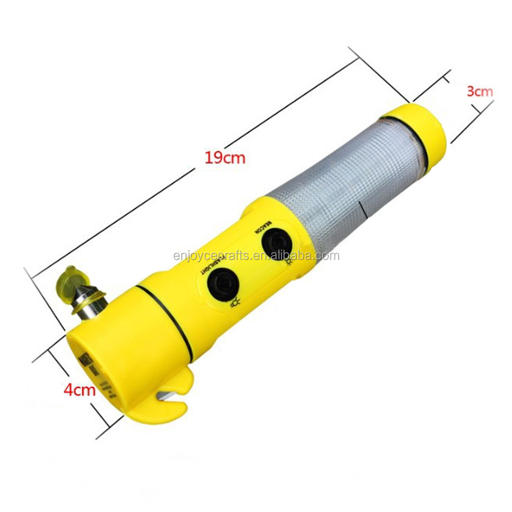 New product 4 in 1 yellow color car emergency glass hammer tools with led