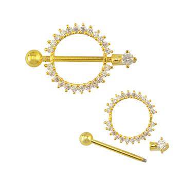 Barbell Type Crystal Gold Circle Nipple Ring Body Jewelry Nipple