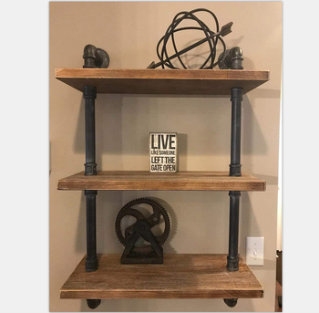 (SOLID WOOD, NOT MDF) Industrial Pipe Shelving Bookshelf Rustic Modern Wood Storage Shelf/ 3 tiers wall mounted pipe shelves