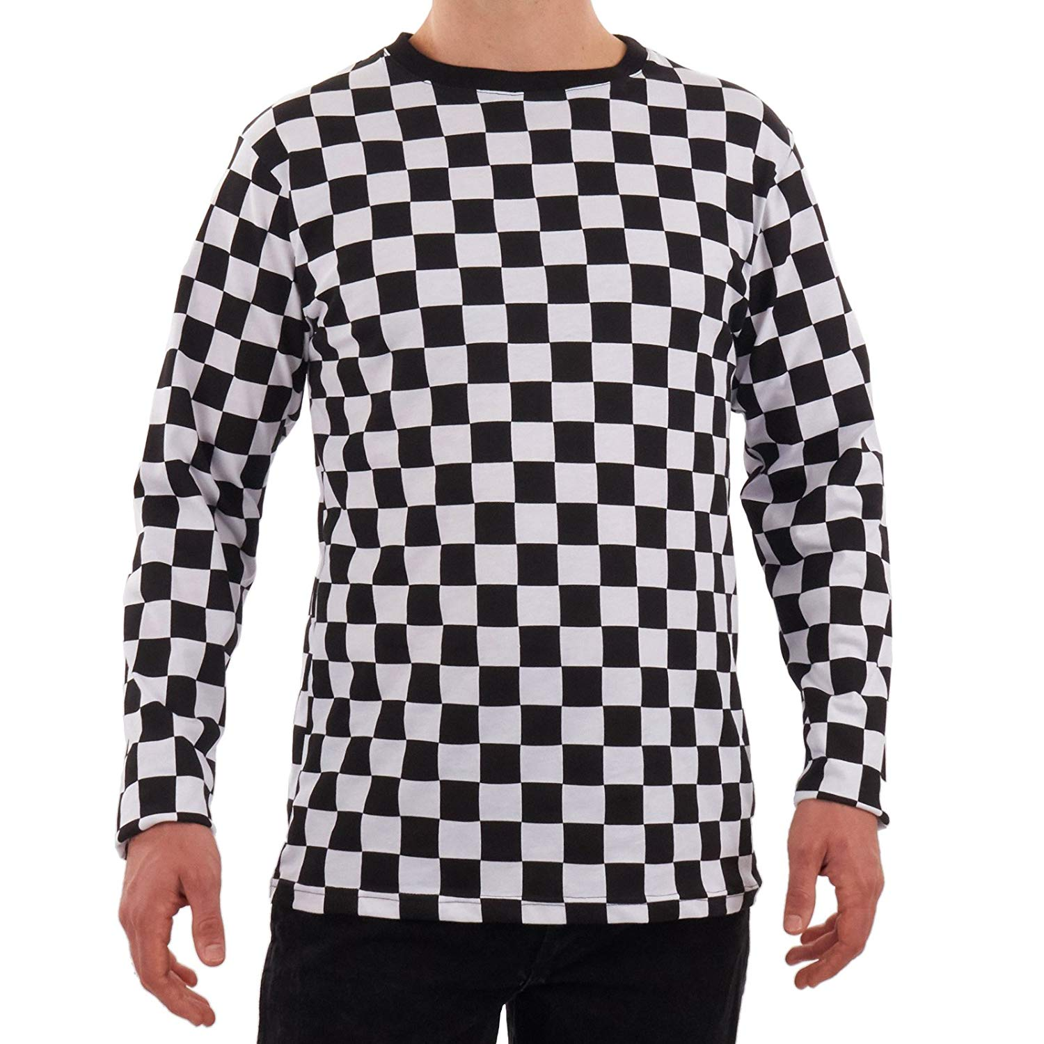 137560917263 Get Quotations · Men's RAD 80's Checkered Long Sleeve Shirt Black and White