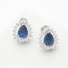 Precious Sapphire Stone Hand Type Gemstone Wedding Jewelry Sets Bridal Women 925 Sterling Silver Jewelry Sets
