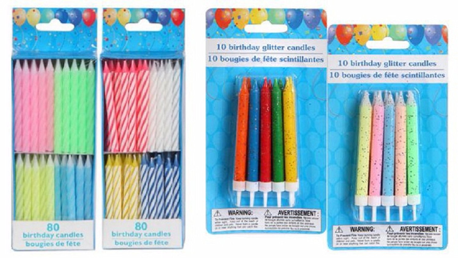 Birthday Candles for Kids and Adults, Pastel and Primary Colors, Spiral and Glitter with Holders, 4-Pk, Total 180