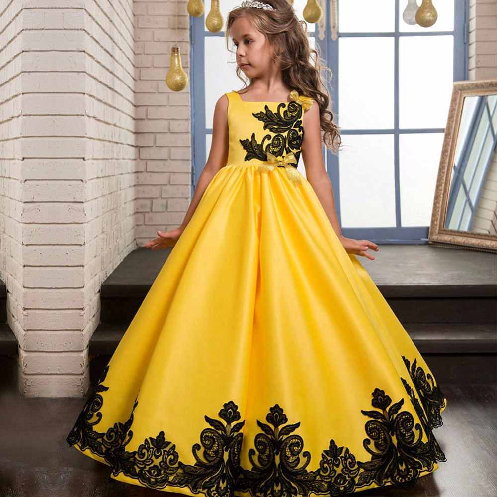 Design Of Evening Long Gowns For Kids India Boutique Wholesale Satin ...