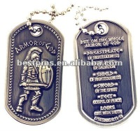 ARMOR OF GOD BRUSHED STEEL DOG TAG