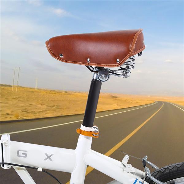 Bicycle Saddle Universal Comfortable Brown Rivets Bike Seat Durable PU Leather Spring Bicycle Saddle