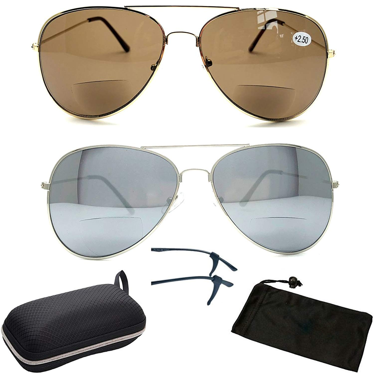 Premium Bifocal Metal Rectangular Shape Men Women Fashion Designer Sun Readers (These Are Bifocal Sunglasses + Readers)