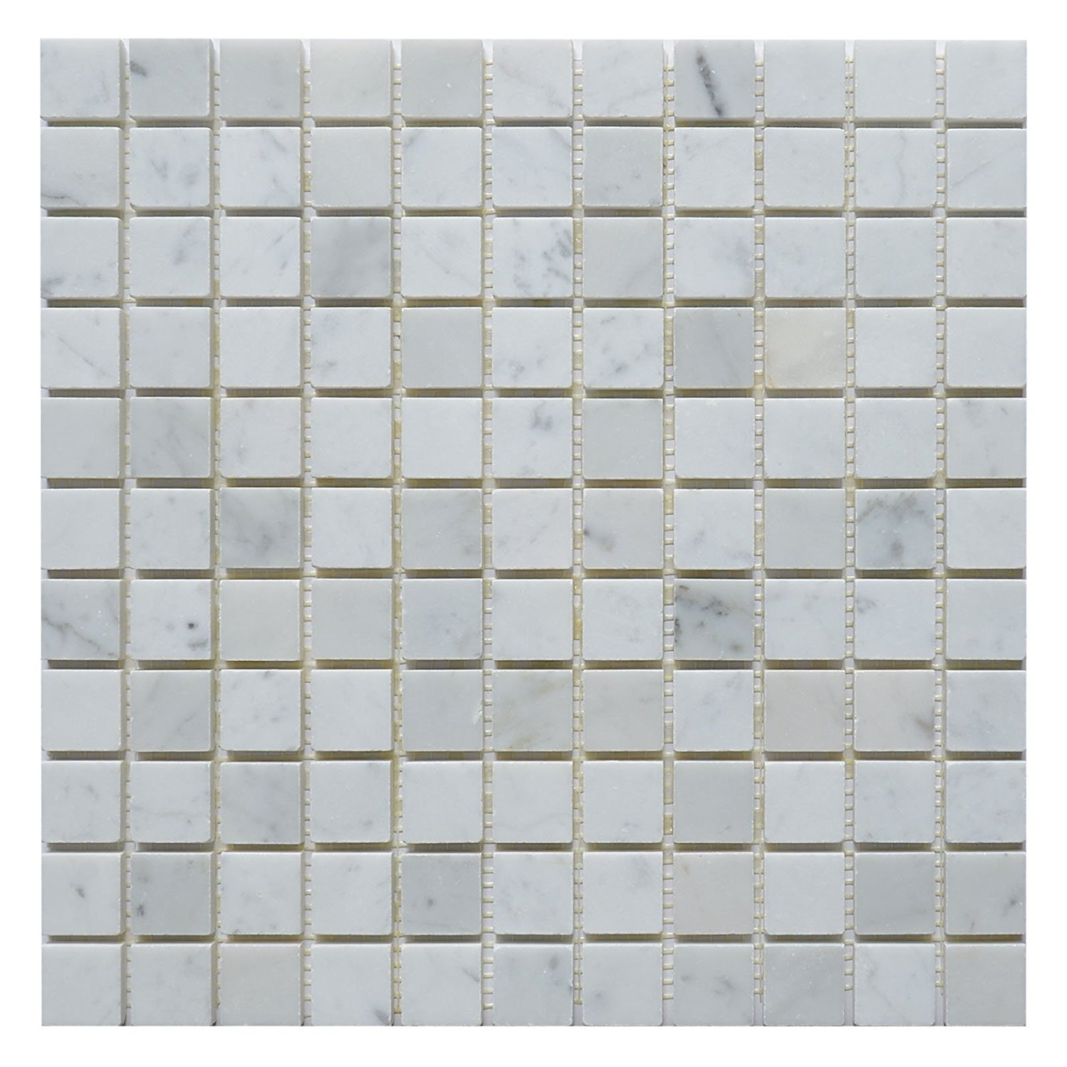 "Carrara White Marble Mosaic Tile, CWMM0101, Chip Size 1""X1"" Square, 12""X12"", Polished (Sample (4""X4""))"