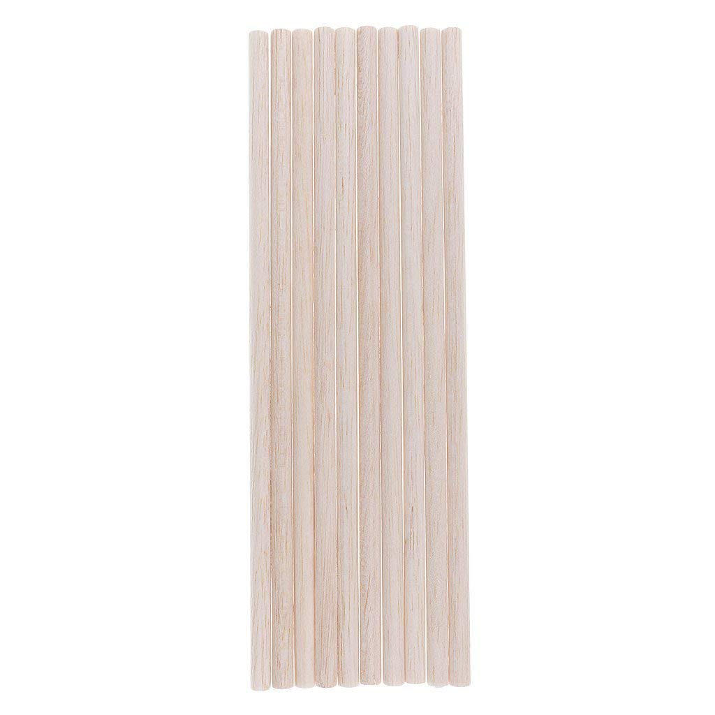 Baosity 10 Pieces Natural Blank Round Unfinished Balsa Wood Wooden Sticks Dowel Rods for DIY Crafts Model Making Building Children Educational Toys 50-250mm - 250mm