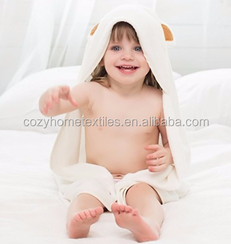 2017 Hot Sale Unisex Luxuriously Soft Organic Bamboo Baby Hooded Bear Bath Towel With Wah Cloth For Newborns Toddlers Boys Girls