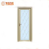 2019 hot sales wholesale Tempered glass swing frosted aluminium bathroom doors