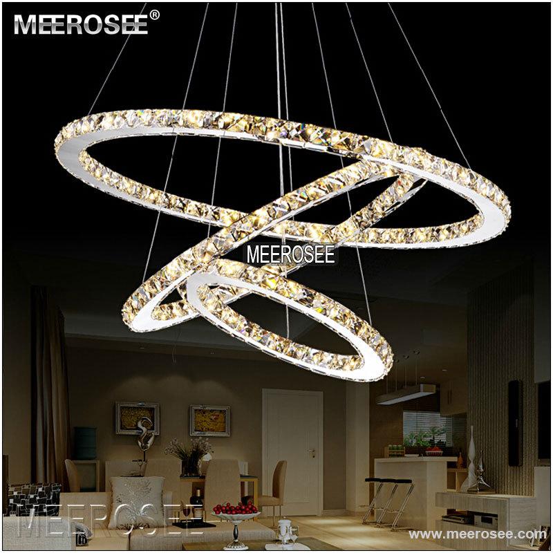 Moderna LED Appeso Cristallo Cerchio di Luce 1 Anello Lampadario a Sospensione Bianco freddo
