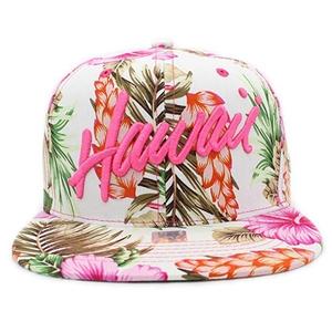 Wholesale Cheap Custom Colorful Tropical Hawaiian Flower Floral Printing  Flat Brim Snapback Hat Cap fe80eab20197