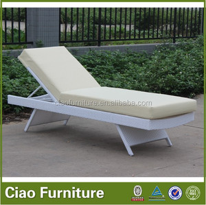 Lightweight pool side lounger white plastic sun bed
