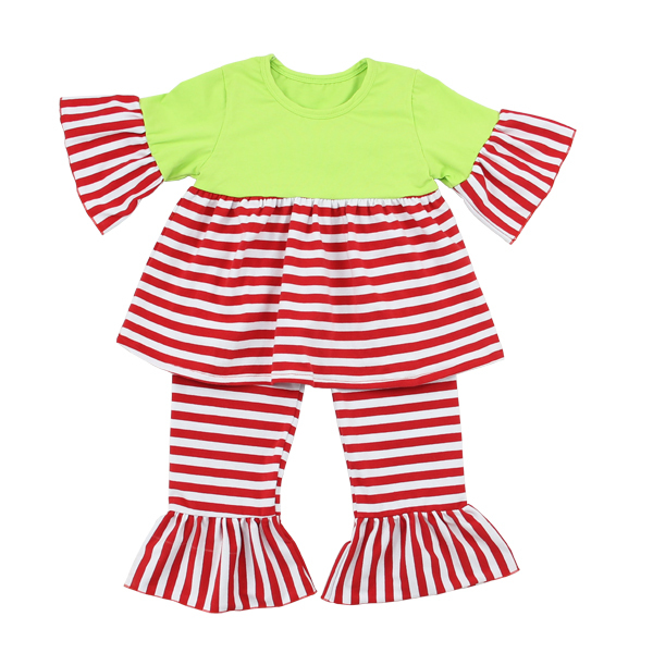 2017 Striped Baby Ruffle China Online Store Christmas Outfits Fashion Baby Christmas Clothes
