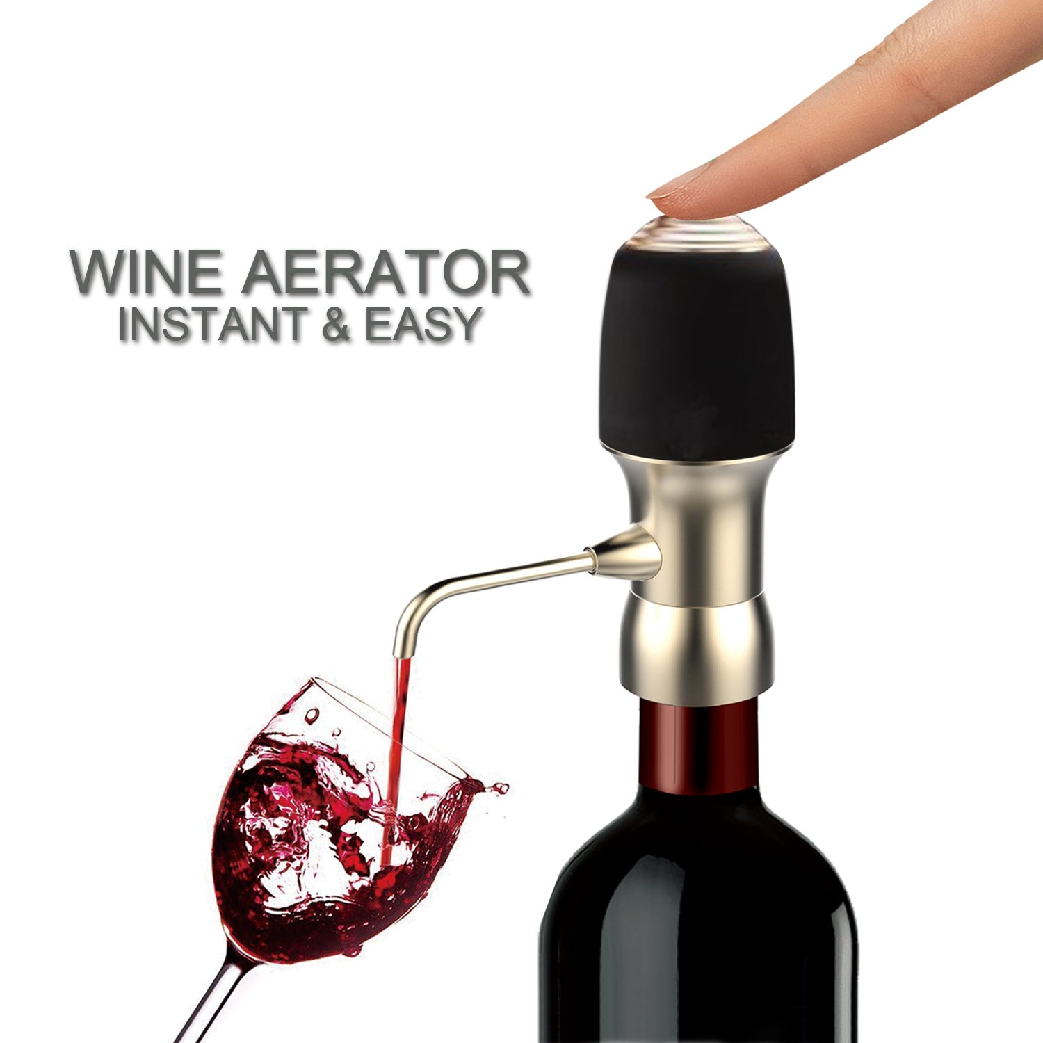 Wine Air Aerator, Spedal 1-Button Aeration & Decanter Electric Wine Aerator, Wine Aerator Pourer, Wine Decanter Aerator, Red Wine Aerator for Wine Bottle, Enhance Wine Flavor, Gift for Wine Lovers