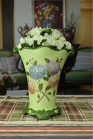 Hand Painted Porcelain Vase/ Vase with flower printed